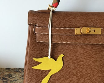 NEW COLORS! Leather Bird Bag Charm on Silk Cord