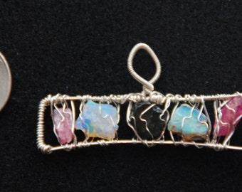 Libra zodiac silver wire wrapped necklace / pendant