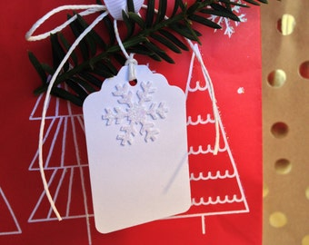 6 White Glitter Snowflake Gift Tags - Set of 6 - on White Cardstock