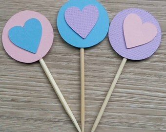 Heart cupcake toppers - 12 Pink, blue and purple toppers, Cupcake Toppers, cake topper birthday, 1st birthday, Party Circles, Cake topper