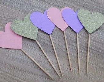 Heart cupcake toppers, 12 Wedding Cupcake toppers, pink purple and gold glitter, bridal shower, baby shower,  hens night, kitchen tea