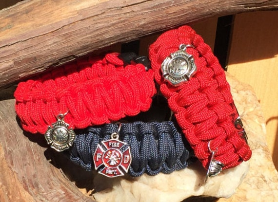 Firemens Paracord Bracelet, fire fighter, fire department charm, with a gunmetal center release buckle