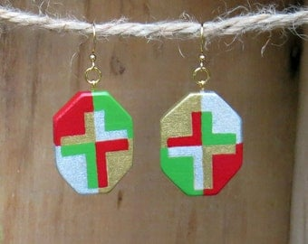 Christmas earrings, Wooden Earrings, Cross Earrings, Painted Cross, Holiday Earrings, Red and green, Mosaic Cross, Christian Jewelry, Faith