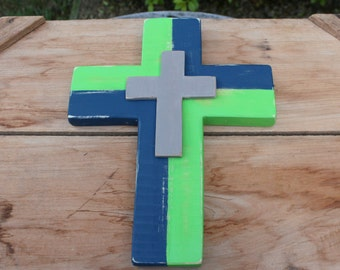 Seattle Seahawks, Wooden Cross, Seahawks, Football, Gift for Him, Football Wall Decor, Distressed Cross, Wooden Wall Cross, Football Cross