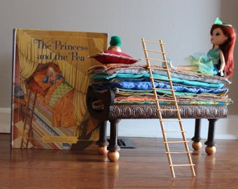 Custom Made Princess and the Pea bed, mattresses, book and doll