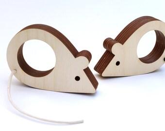 Mouse napkin rings, wooden napkin rings, table decor, set of 2