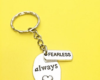 Fearless Keychain, fearless charm, word charm key chain, motivational key chain,fearless,inspirational, strength, gift for him, gift for her