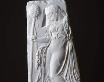 MARBLE Dancing Maenad relief carved Greek marble artist sculpture