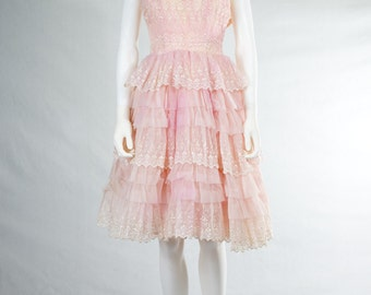 1950's Pink Embroidered Party Dress