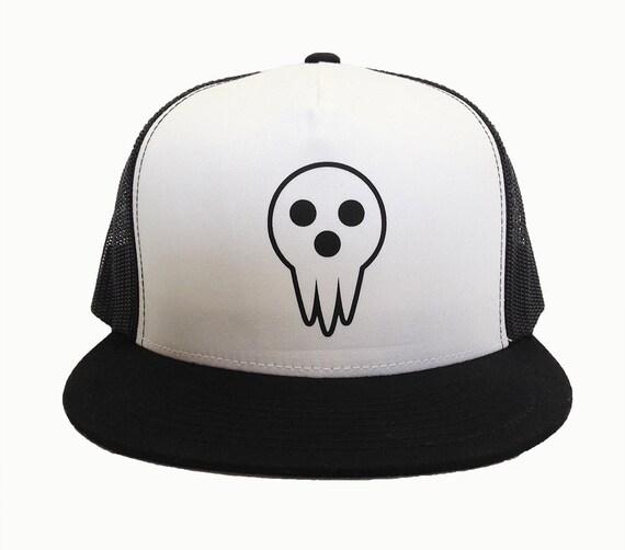 DEATH MASK anime hat cap, Black White Trucker Hat, Adjustable, Mesh Back, Flat Bill, Manga Style, High Profile, DWMA Fan Gear, Anime Gear