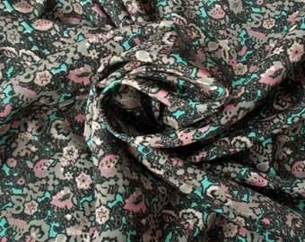 Retro Crepe de Chine Dress Fabric - 1970's - Black, grey, taupe, pink & turquoise colourway - 1 piece  - Unused