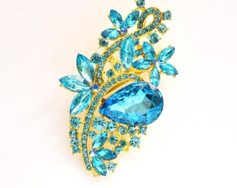 Aqua Blue Gold Rhinestone Brooch Crystal Brooch Wedding Accessories Bridal Brooch bouquet Hair comb