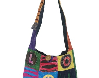 Peace & Love, Hipster Cross body, Sling bag, Embroidered with various color, Free US shipping, made, Nepal