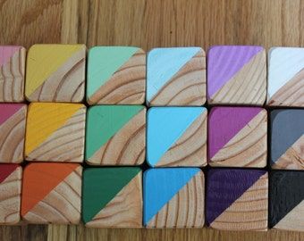 18 Hand Pained Color Wooden Blocks