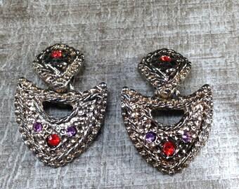 Stunning Vintage Estate Gold Tone Minty Rhinestone Clip Earrings