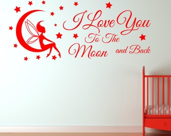 I Love You To The Moon And Back Vinyl Wall Decal Sticker for your child's bedroom or playroom