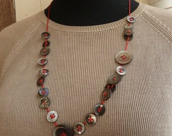 Adjustable necklace with Vintage Shell buttons & Red silk cord