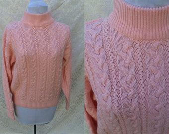 1980s Pastel Baby Pink Knitted Nordic Woven Winter Sweater Size M