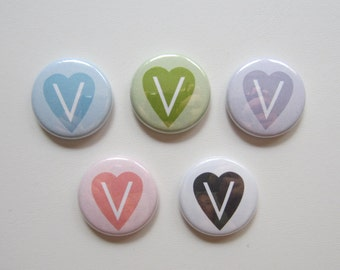 Vegan/Vegetarian Symbol V 5 pack pinback button badge set