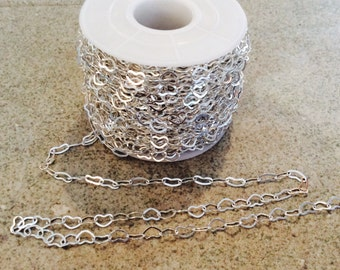silver heart chain 4.5 x 6.5mm chain by the foot heart chain