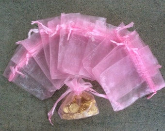 12 pc pink 2x3 organza gift bags jewelry pouches bulk wedding party bridal shower baby shower