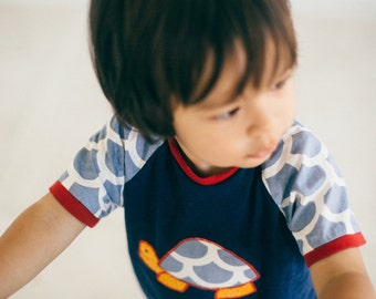 Gift for a baby boy. Size 0 Boys T-shirt. Sale Item. Cute and Modern Design. Australian-made. Navy. Fun Fashion for Little Boys.
