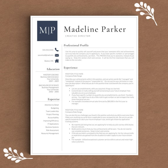 Professional Resume Template And Cover Letter Template For: Professional Resume Template For Word & Pages By