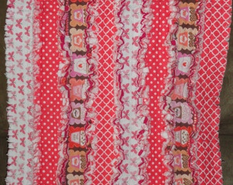 Butterflies/Cupcakes Rag Strip Security Quilt/Security Blanket- Butterflies/Cupcakes and Hot Pink