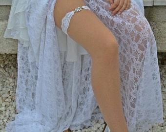 White Garter, Wedding Garters, White Garter Set, White Lace Garte, Bridal Garter, Wedding Garter Set, Rhinestone Garter, Handmade Garter