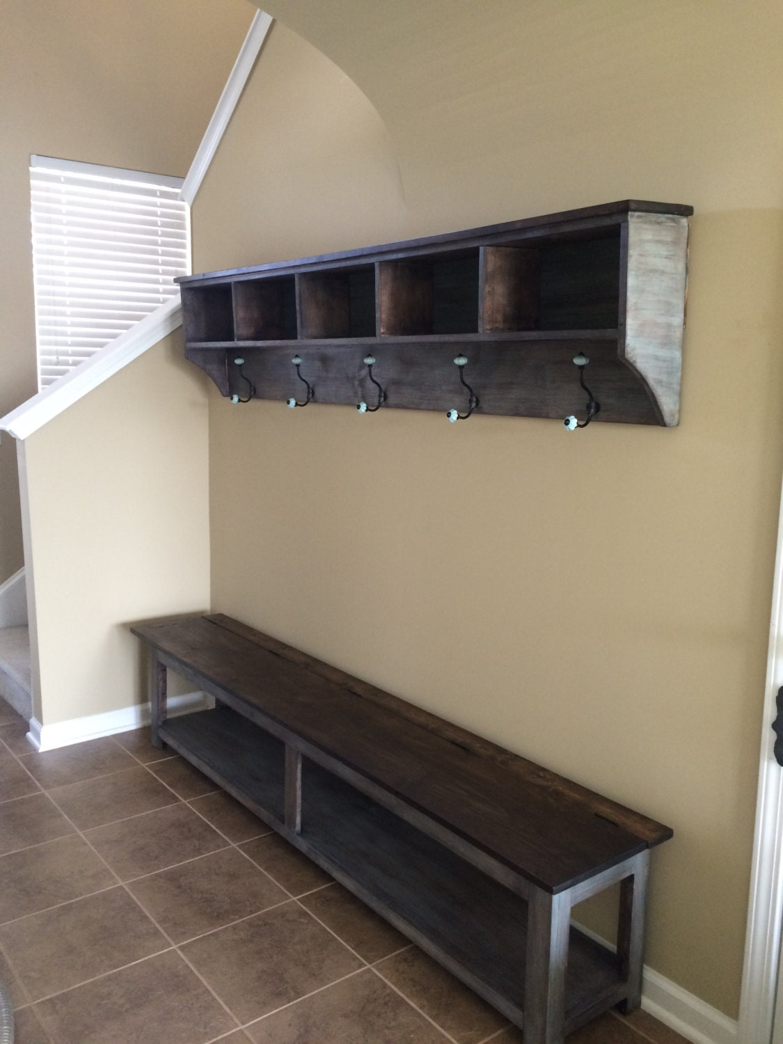 entryway storage shelf with hooks and by knot2shabbycustomcre