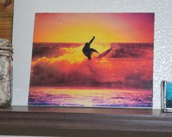 California Surf Art on Wood, surf photography on 8x10 wood, Surf Art