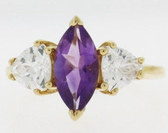Amethyst 14k Gold Ring, Purple Stone Gold Ring, Gemstone Jewelry, Marquise Amethyst Ring