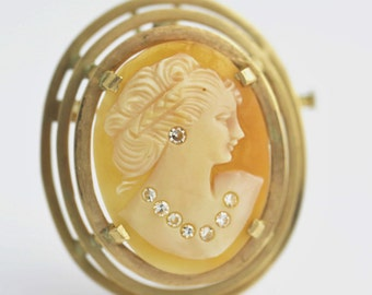 14k Yellow Gold Carved Shell Cameo Brooch Pin