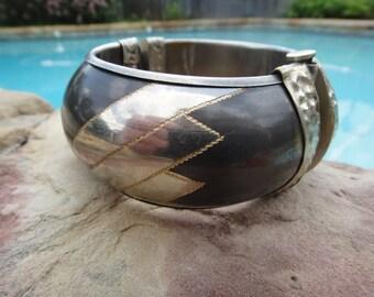 Antique Bracelet ,  Hinged  Bracelet  , Older Vintage Bracelet ,  Pin Lock Bracelet Cuff Bracelet ,  Hinged with Handmade Pin Closure