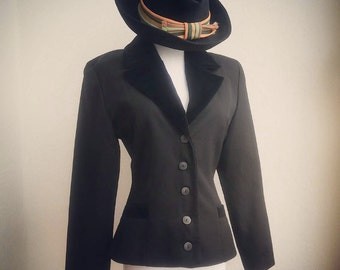XS Sharp Black Hourglass Wool Jacket with Velvet Details Gothic Vintage Chic