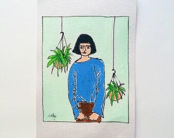 original art painting - 'eat your greens'