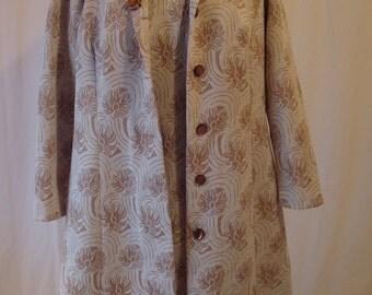 Vintage Mad Men Dress Vintage Shift Dress and Coat Beige and Cream Starburst Pattern Small Medium Large