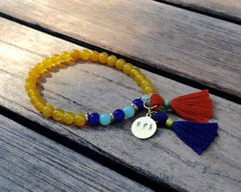 gold aventurine, blue and jade beaded double tasseled bracelet
