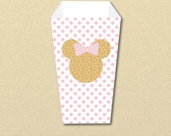 Minnie Mouse Popcorn Box, Snack Cup, Popcorn Cup,  Pink and Gold Minnie, printable popcorn box, printable pdf, food cup, fry cup, digital