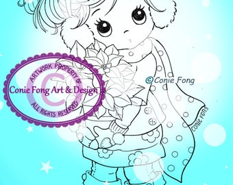Digital Stamp, Digi Stamp, digistamp,  Holly Poinsettia by Conie Fong, Christmas, Winter, girl, poinsettia, flowers, coloring page, children