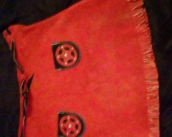 Suede Red Western Fringe Skirt