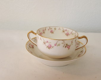 Haviland Limoges France soup cup and saucer, Pink rose swag, Pink roses, wild run, Climbing rose , limoges, limoges soup. Limoges