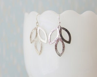 LILY - Shiny Silver Plated Brushed Leaf, Sterling Silver Earwire, Dangle Earrings
