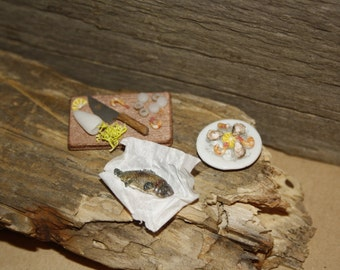 Fish and seafood, Dollhouse/Doll House, 1:12, handmade