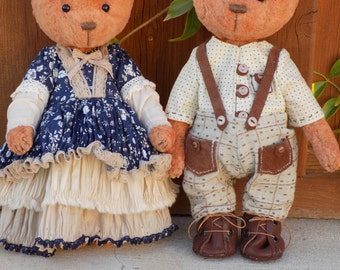 Handmade Teddy Bear Country Couple-Artist Teddy Bears-Tilda Doll-Teddy Bear-Textile Teddy Bear-Dollhouse-Dolls&Miniatures-Art Collectibles