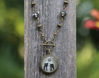 Mother Mary vintage prayer card necklace