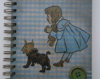 Wizard of Oz A5 Notebook Journal Diary Dorothy Toto Hard Backed Decoupaged Hand-stamped Spiral Wire Bound Wood Button Closure 80 Sheets