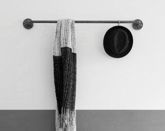 coat robe - wall-mounted coat rack - towel rail - towel holder -  clothing rack - steelp pipe - wardrobe SOLID LINE - black galvanized