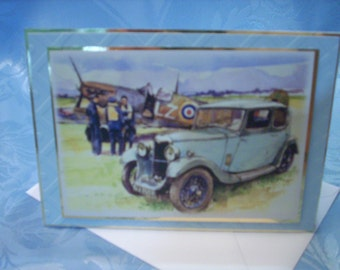 Vintage Car and Spitfire Greetings Card