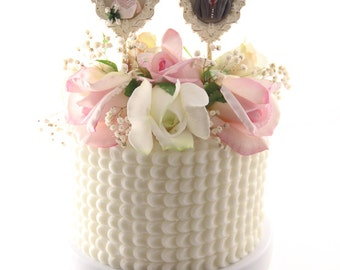 Vintage Wedding Cake Toppers // Wedding Cake Toppers //  figurines // dolls // Blooming Cake Toppers